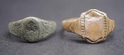 Two Jacobean Period Copper Finger Rings 17Th Century Ad