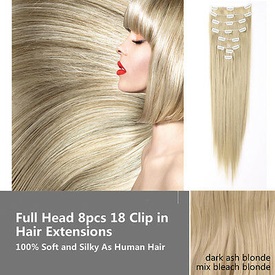 """23"""" Full Head 8pcs 18clips Clip in Hair Extensions As Real Human Straight Long"""