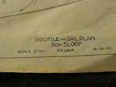 Signed Bluprint of 30 Foot Sloop Dated 1922