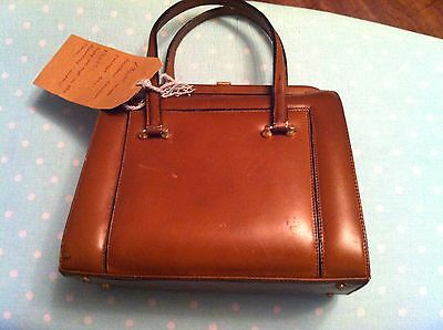 Vintage 1940s-50's Tan THICK Leather Tan Brown Mini Hand Held Bag Beautiful