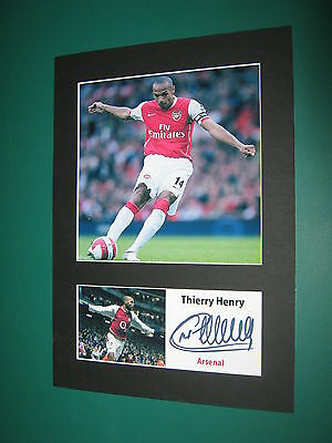 Thierry Henry Arsenal A4 Photo Mount Signed Pre-Printed Gunners Dennis Bergkamp