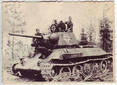 German Wwii Photo From Russian Archive: T-34 Tank Captured & Reused By Wehrmacht