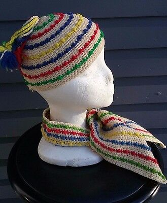 Vintage homemade knit crocheted child's winter hat scarf set 1940's 1950's cute!