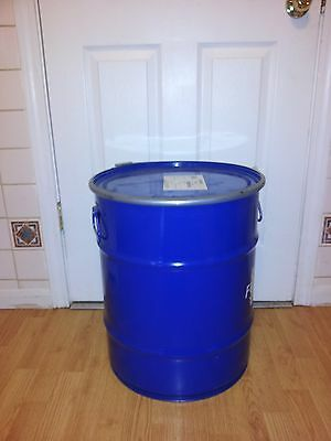 20 Gallon metal barrel with handles and removable locking lid.