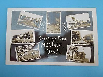 Vintage Postcard with Greetings from  Monona, Iowa, 1915