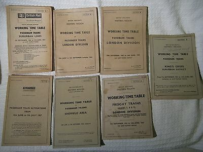 7 x Vintage 1960s British Railways Passenger Train Timetables