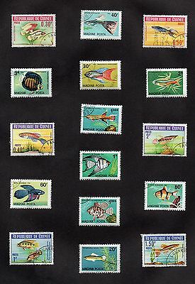RARE!! Set of (16) HUNGARY, GUINEA STAMPS - BEAUTIFUL FISH COLLECTION