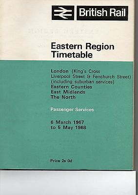 BR ER Public Timetable, March 1967, Very Good Condition with Supplement