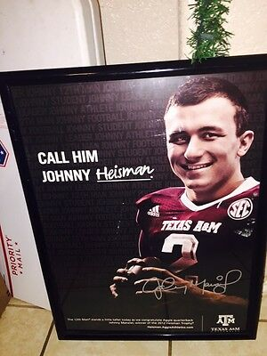 Johnny Manziel Texas a&m autographed framed poster