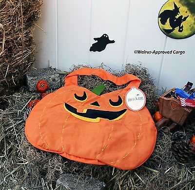 Pottery Barn Kids Big Mouth Pumpkin Treat Bag -Nwt- The Little One'Ll Eat It Up!