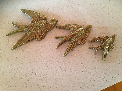 Vintage Brass Set Of 3 Flying Swallows Wall Plaques
