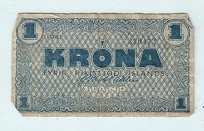 One Krona Note From 1941 Iceland