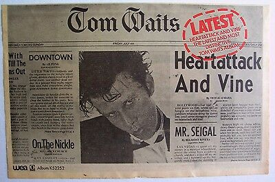 TOM WAITS 1980 Advert HEARTATTACK AND VINE