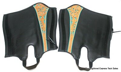 D.A. Brand Black Turquoise Trim Beads Half Chaps Size Large Horse Tack