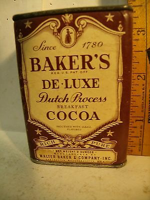 GREAT SAMPLE 1930's BAKER'S 2OZ Cocoa Advertising COUNTRY STORE Tin TOP & BOTTOM