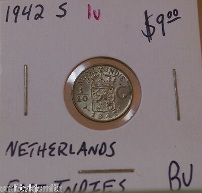 1942 S Netherlands East Indies Indonesia BU Brilliant Uncirculated coin (1u)sMb)