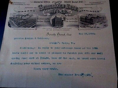 "Collectible 1890 Letter Head ""STUDEBAKER BROS. MF'G CO.,""  South Bend, IN"