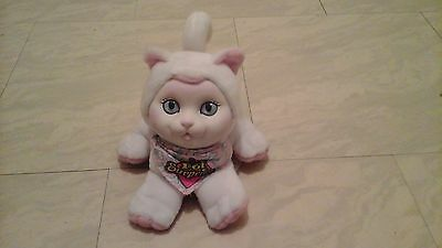 Vintage Hasbro Pet Surprise 1993 White Kitty Cat Plush Meows With Bandana