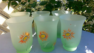 Set 6 Vintage Green Frosted Glass Drinking Glasses Hand Painted