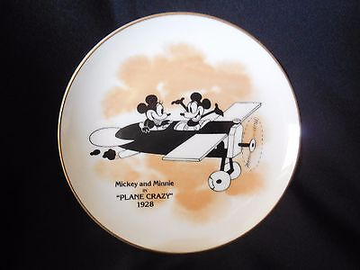 "Disney 6-1/4"" Minnie And Mickey Mouse Plane Crazy 1928 Collectors Plate"