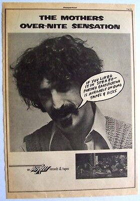 FRANK ZAPPA THE MOTHERS 1974 Poster Ad OVER-NITE SENSATION quad
