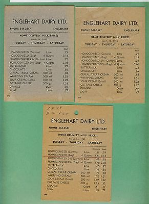 4 Englehart Dairy Milk Tickets And 3 Price Lists 1980