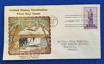 Hand Colored US Territories Crosby Cachet First Day Cover FDC Honolulu Hawaii