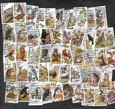 #2286-2335 North American Wildlife, Used Set of 50, 22 cent, Off Paper