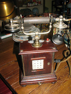 Vintage Antique Telephone, Crank Handle w Number Buttons, Demark, Europeon ?