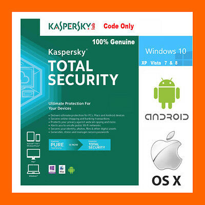 Kaspersky Total Security 2016 2017 1 Year  Windows PC Mac OS Andriod Internet