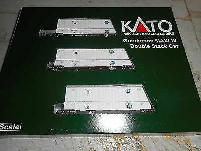 Kato N Scale Set Of 3X Gunderson Maxis Double Stack Bnsf