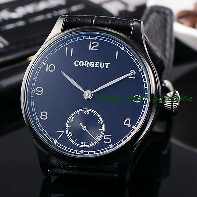 Corgeut 44mm Black PVD Case Black Dial 6498  Mov't Mens Hand Winding Watches 02