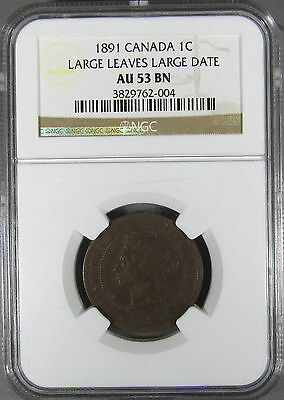 Canada 1891 large cent NGC AU53 LLLD, obv 2