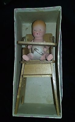 Vintage Kerr And Hinz K&h Storybook Bisque Baby Doll In Highchair With Box Usa