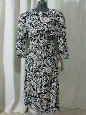 Vintage NWT 80s Black Brown White Scolling Leaves Career Church Belted Dress L