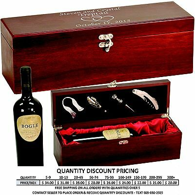 Personalized Rosewood Wine Box Custom Engraved Valentines Day Gifts for Him Her
