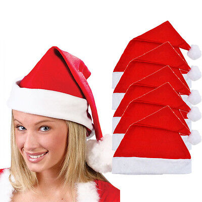 5x Adult Unisex Adult Xmas Red Cap Santa Novelty Hat for Christmas Party New US