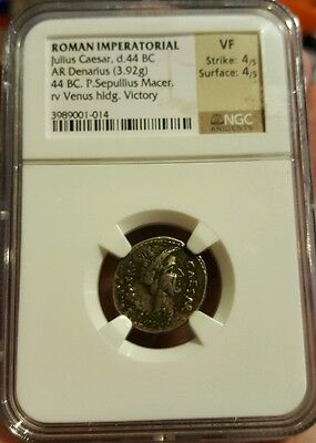 Ancient Roman AR Denarius 44 BC JULIUS CAESAR Lifetime Portrait NGC Certified