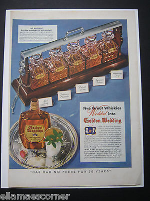 Vintage 1940 Golden Wedding Whiskey Original Print Ad