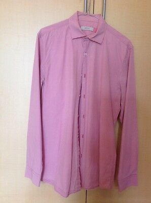 Marcs Mens Collared Shirt Pink Check Size M Slim Fit  Long Sleeve