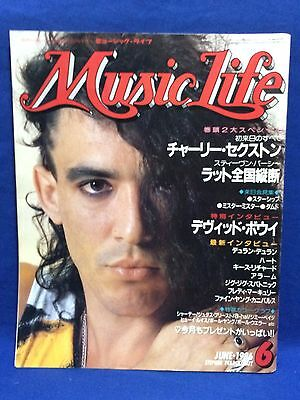 Music Life 1986 6 Japan Rock Magazine Book Ratt Charlie Sexton David Bowie Heart