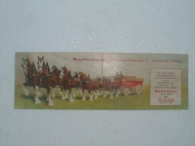 Old Budweiser Michelob post card featuring the clydesdale horses and wagon