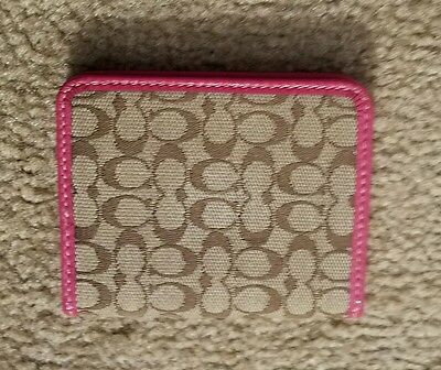 Authentic Coach Signature Photo Credit Card ID Wallet Brown Pink Leather Trim