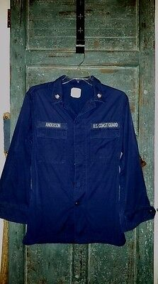 Vintage Military US Coast Guard Uniform Shirt Blue Petty Officer Patches