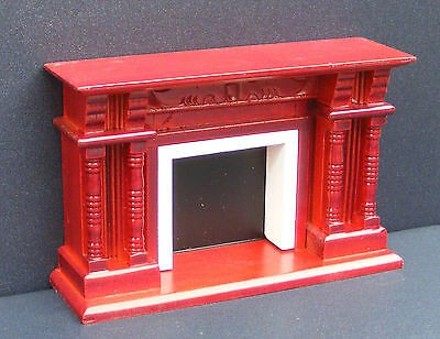 1:12 Scale Wooden Mahogany Fire Place Dolls House Miniature Fireplace 248