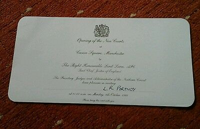 Invitation To Opening Of The New Courts In Manchester,october 1986.