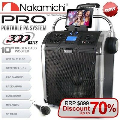 """NAKAMICHI PRO Portable PA System 10"""" 300W Bluetooth USB SD 2-Way Party Speaker"""