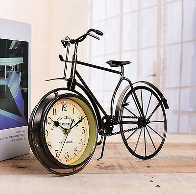 Retro Vintage Metal Bicycle Model Clock Home Decoration Table Clock Ornament