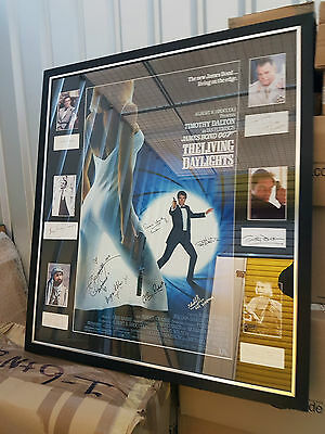 Original James Bond Poster The Living Daylights 1987 with Autographs