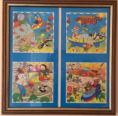Walkers MilLooneyUm Looney Tunes 2000 Qubix Tazos Puzzle Complete In Wood Frame